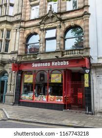 Swansea, UK - Aug 27, 2018: Swansea Kebabs - Takeaway, 7 Wind Street Swansea