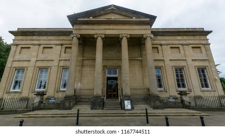 Swansea, UK - Aug 27, 2018: Swansea Museum Facade, Neoclassical museum with artefacts ranging from an Egyptian mummy to a Welsh kitchen
