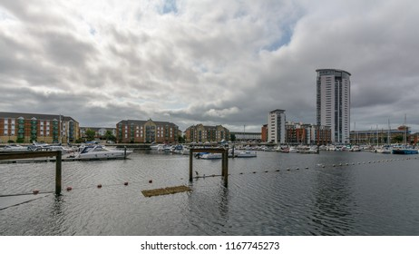 Swansea, UK - Aug 27, 2018: Tawe Basin in Swansea C, Marina with Cloudscape