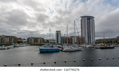 Swansea, UK - Aug 27, 2018: Tawe Basin in Swansea B, Marina with Cloudscape