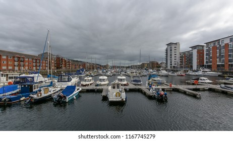 Swansea, UK - Aug 27, 2018: Tawe Basin in Swansea A, Marina with Cloudscape