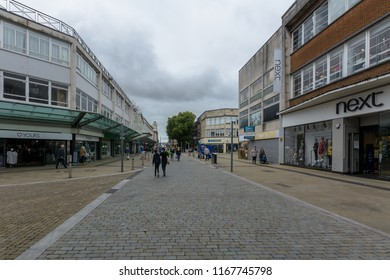 Swansea, UK - Aug 27, 2018: Looking Down Oxford Street Swansea