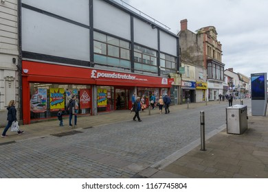 Swansea, UK - Aug 27, 2018: Poundstretcher Oxford Street Swansea, Chain retailer selling homewares at discounted prices