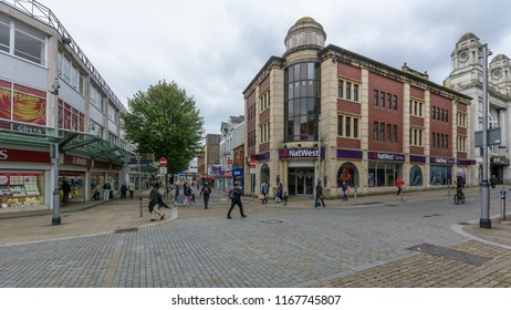Swansea, UK - Aug 27, 2018: Corner of Union Street and Oxford Street Swansea, NatWest Bank Branch Building