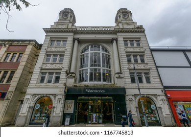 Swansea, UK - Aug 27, 2018: The Old Carlton Cinema Building, Currently Waterstones - mainstream and academic book retailer, Oxford Street Swansea