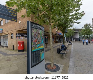 Swansea, UK - Aug 27, 2018: Looking Down Plymouth Street, Focus on Information Board, Shallow Depth of Field