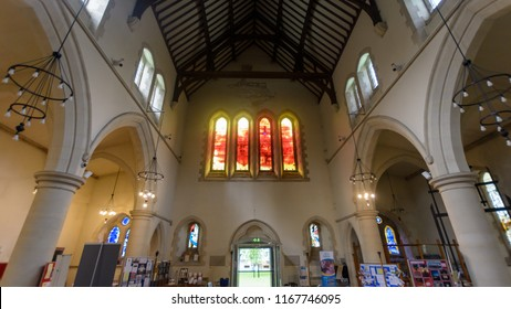 Swansea, UK - Aug 27, 2018: St Mary Church Narthex and Millennium Window