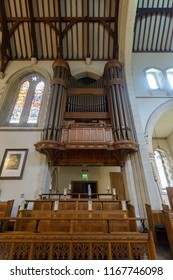 Swansea, UK - Aug 27, 2018: St Mary Church Organ