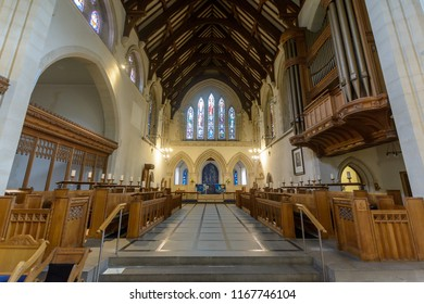 Swansea, UK - Aug 27, 2018: St Mary Church Chancel