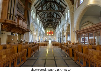Swansea, UK - Aug 27, 2018: St Mary Church Chancel view from Altar