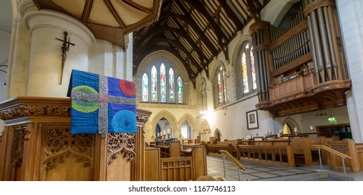Swansea, UK - Aug 27, 2018: St Mary Church Pulpit Cloth Shallow Depth of Field