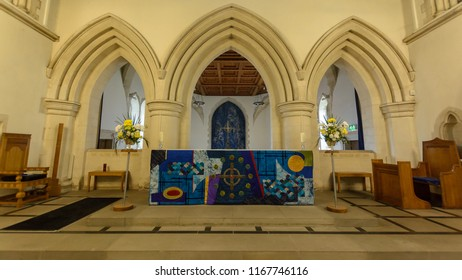 Swansea, UK - Aug 27, 2018: St Mary Church High Altar