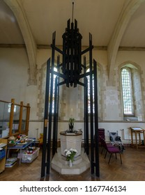 Swansea, UK - Aug 27, 2018: St Mary Church Font and Ironwork