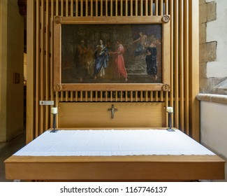 Swansea, UK - Aug 27, 2018: St Mary Church Chapel of Saint Peter in Chains Altar