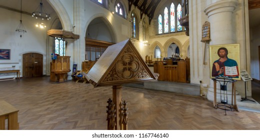 Swansea, UK - Aug 27, 2018: St Mary Church Wooden Lectern Shallow Depth of Field