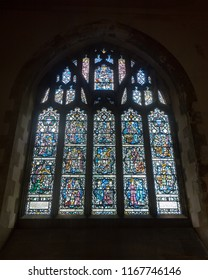 Swansea, UK - Aug 27, 2018: St Mary Church Stained Glass in Lady Chapel, Scenes from the Life of the Virgin Mary (1960) by Powell and Sons