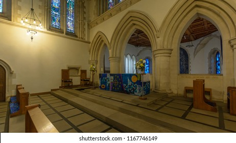 Swansea, UK - Aug 27, 2018: St Mary Church High Altar right side