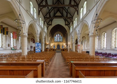Swansea, UK - Aug 27, 2018: St Mary Church Nave