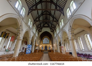 Swansea, UK - Aug 27, 2018: St Mary Church Nave and Ceiling