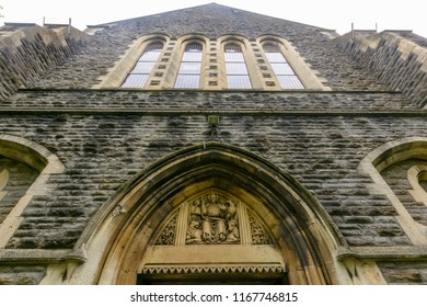 Swansea, UK - Aug 27, 2018: St Mary Church Facade bottom view