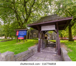 Swansea, UK - Aug 27, 2018: St Mary Church Lychgate