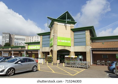 Swansea, UK: August 13, 2017: Homebase is a home improvement retail chain for DIY, garden equipment and furniture.