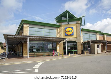 Swansea, UK: August 13, 2017: Lidl store selling groceries and domestic items. Lidl is a German discount supermarkretailet chain and has over 10,000 across Europe.