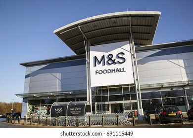 Swansea, UK: December 28, 2016: Front view of a Marks and Spencer Food Hall. Marks also provide online orders for home delivery or a click and collect option.