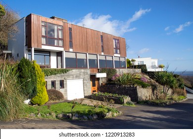 Swansea, UK: February 20, 2018: Large detached 1970's self build property with sea views in Langland.