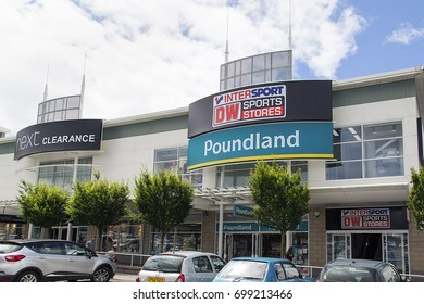 Swansea, UK: July 09, 2017: Poundland and DW Sports Store in a shopping mall.