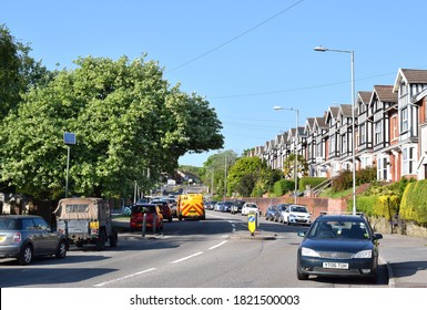 Swansea UK, July 2020: Vivian street view with vegetation, cars and houses on a nice day.