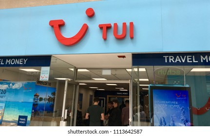 Swansea, UK: June 15, 2018: TUI UK is a UK-based travel operator and subsidiary of TUI Group. The Thomson Travel Group was owned by the Thomson Corporation of Canada until 1998.