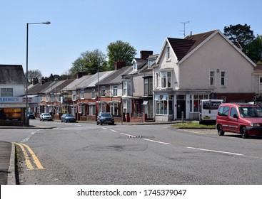 Swansea UK, May 2020: Vivian street view with cars, houses and shops on a nice day.