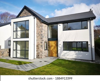 Swansea, UK: November 19, 2020: Bespoke luxury detached house on a new build residential development.