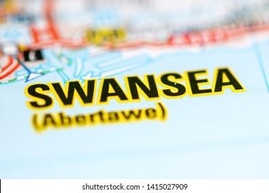 Swansea. United Kingdom on a geography map