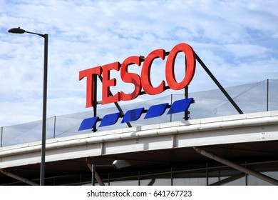 Swansea, Wales, UK, February 24, 2017 : The advertising sign at the Tesco supermarket store in Swansea Bay