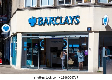 Swansea, Wales, UK, June 30, 2018: Barclays Bank retail financial services branch in Oxford Street