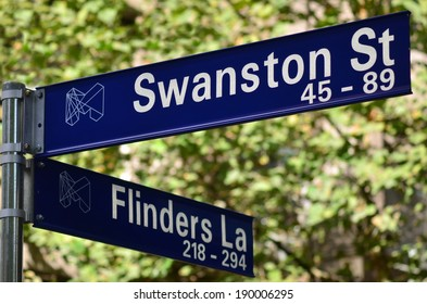 Swanston Street and Flinders lane street sign in Melbourne CBD Victoria, Australia.