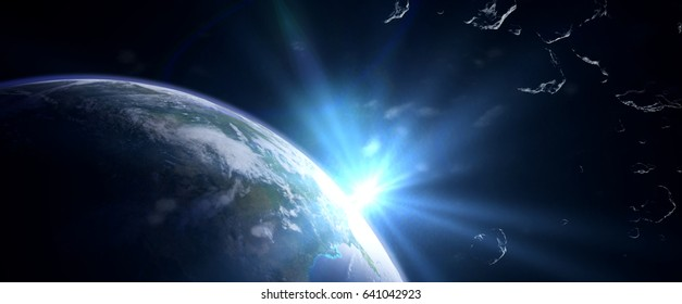 a swarm of asteroids moving towards planet Earth (3d illustration banner, elements of this image are furnished by NASA)