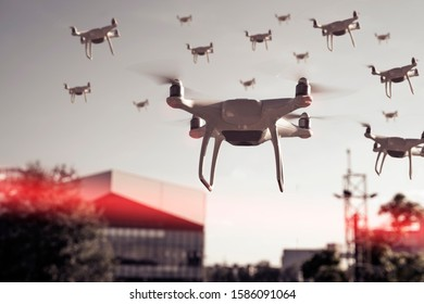 Swarm of drones surveying, flying over city