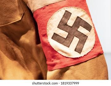 Swastika flag on a uniform, uniform from WW2
