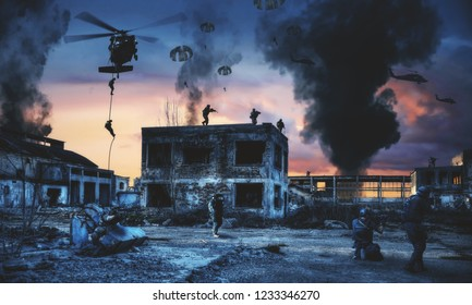 Swat helicopter and forces in destroyed factory and attacking the enemy