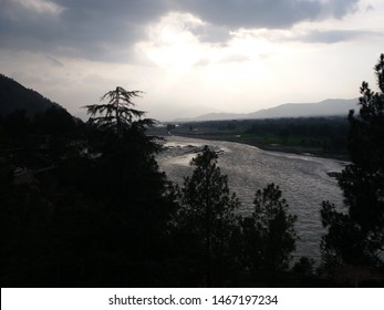 Swat river view - Fiza Ghaat swat, Pakistan. Cloudy afternoon - (July 2019)