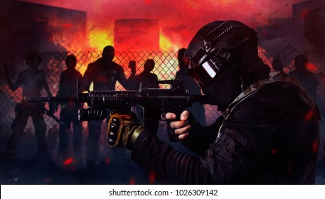 Swat soldier shooting zombies. Photo of a swat soldier shooting at attacking zombies on a night burning city background.