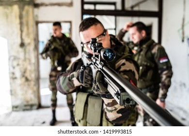 SWAT special military police force airsoft in combat action anti Terrorist intervention combat war game battle