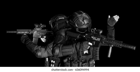 SWAT Team. Entry team. Black and white photo