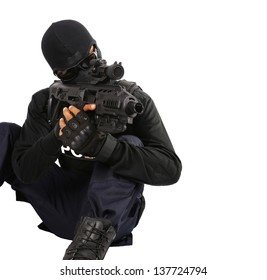 SWAT Team Officer with clipping path on white isolated background
