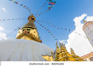 Swayambhunath buddhist sacred temple, Monkey Temple golden dome, prayer flags. Kathmandu city, Nepal.