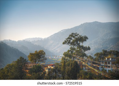 Swayambhunath - the Buddhist temple and the village center on the outskirts of Kathmandu in Nepal. Monkey Temple.