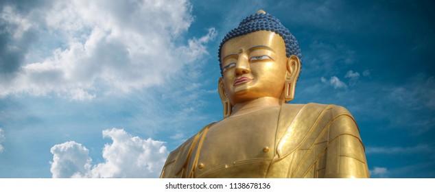 Swayambhunath golden Buddha statue. Kathmandu, Nepal